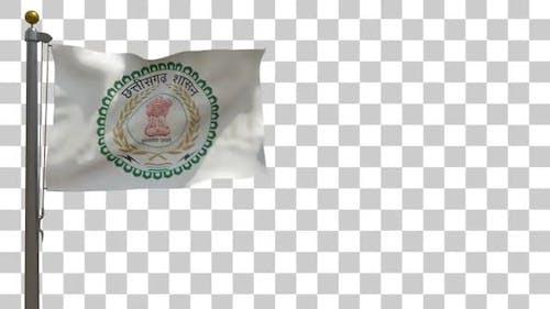 Chhattisgarh Flag (India) on Flagpole with Alpha Channel