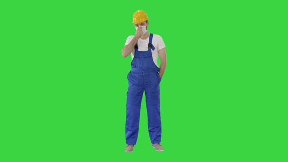 Thumbnail for Masked Construction Man in Hardhat on a Green Screen, Chroma Key.