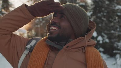 Black Man Enjoying Snow
