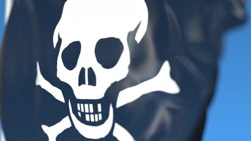 Waving Pirate Jolly Roger Flag
