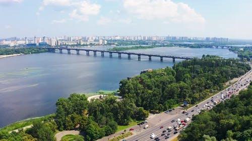 Aerial Fly Over Paton Bridge in Kiev