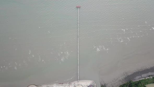 Thumbnail for Aerial look down jetty Pantai Murni waterfront