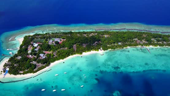 Thumbnail for Daytime aerial clean view of a white sand paradise beach and aqua blue water background in vibrant