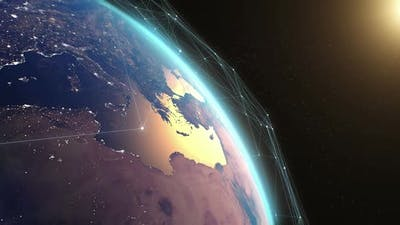 Satellite Network Over Planet Earth