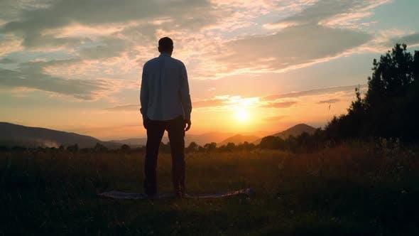 Thumbnail for Back View Male Enjoy Landscape at Sundown