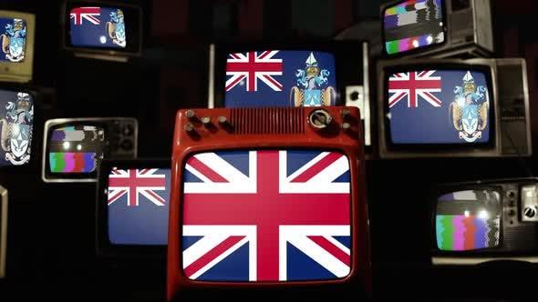 Flags of Tristan da Cunha and UK Flag on Retro TVs.