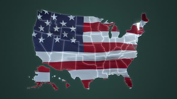 Vermont State with USA Map Flag Video Waving in Wind