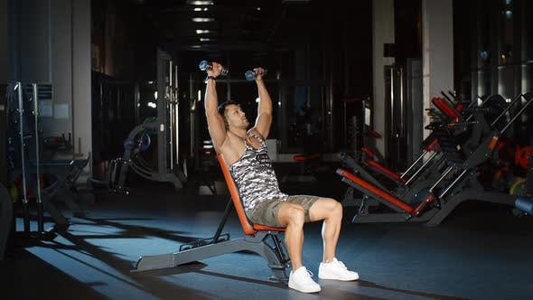 Thumbnail for Athletic Man Working on His Abs Biceps Triceps and Chest With Dumbbells on a Bench in Gym