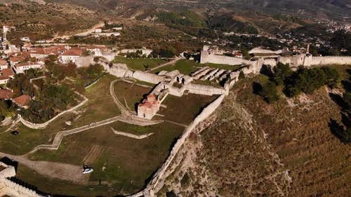 Aerial View of the Old Fortress in Mountains