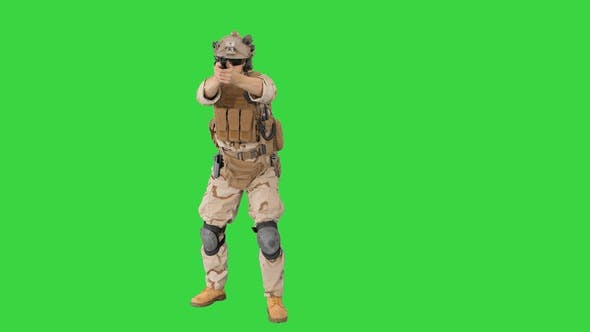 Thumbnail for Modern Soldier, Counter Terrorist Squad Fighter Shooting with a Pistol on a Green Screen, Chroma Key