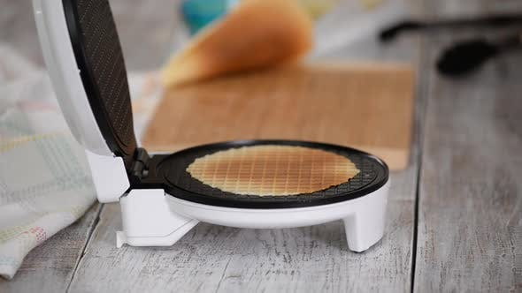 Thumbnail for Making Fresh Hot Waffles in the Waffle Maker for Food.