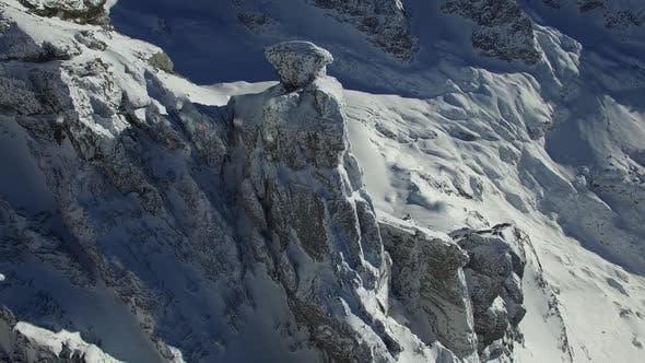 Thumbnail for Aerial View of Alpine Winter Season Mountains Scenery