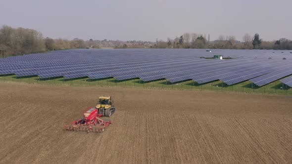 Arable and Solar Farming Comparison Aerial View