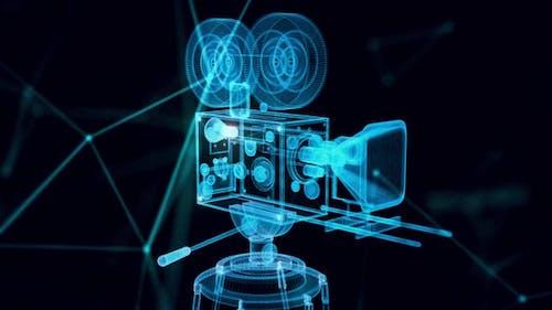 vintage movie camera hologram Close up 4k