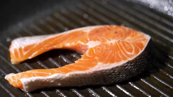 Spices Fall on a Raw Salmon Steak. Raw Salmon Red Fish with Pepper and Salt.