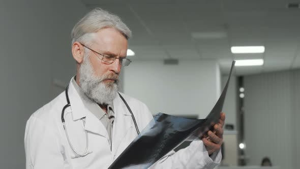 Elderly Male Doctor Examining X-ray Scans of a Patient