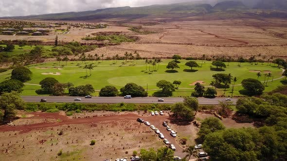 Thumbnail for Aerial Shot of Wonderful Scenery of Volcanic Terrain Beautiful Nature ,Various Cars on the