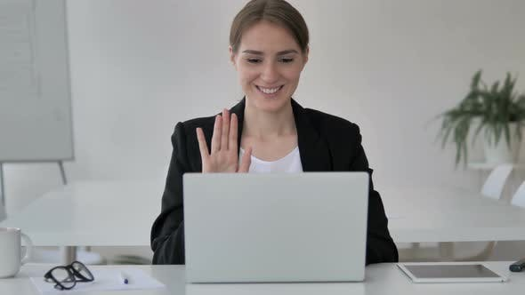 Thumbnail for Online Video Chat by Young Businesswoman on Laptop
