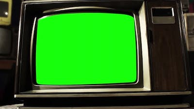 Vintage Television with Green Screen. Dolly Out.