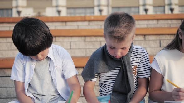 Thumbnail for Cute Kids Doing Artwork Outdoors
