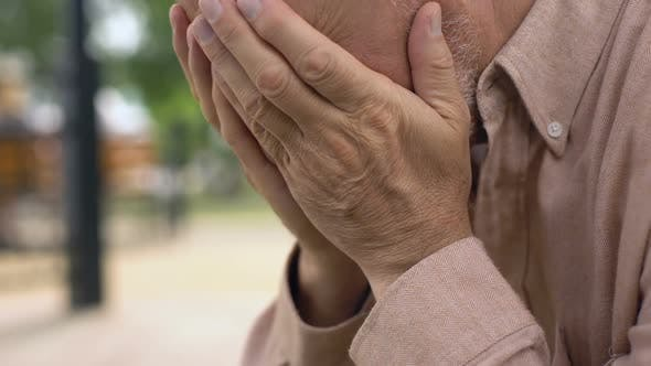 Thumbnail for Aged Pensioner Crying Close-Up, Covering Face With Hands in Despair, Sorrow