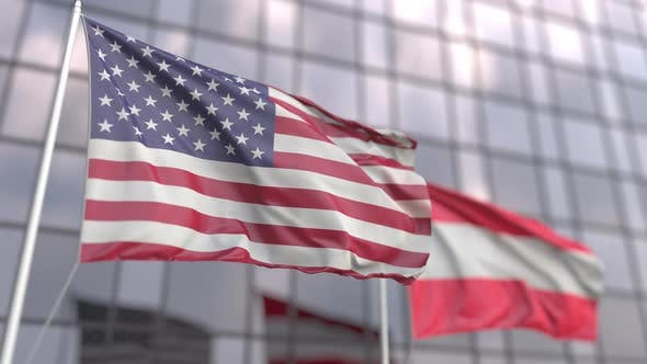 Waving Flags of the USA and Austria