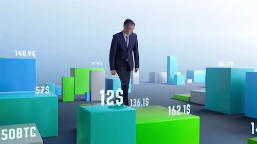 Middle Aged Businessman Walking Amidst Rising and Falling Graphs