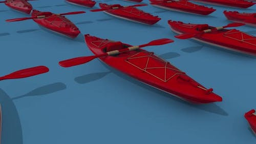 Multiple Red Kayaks In A Blue Background 4k