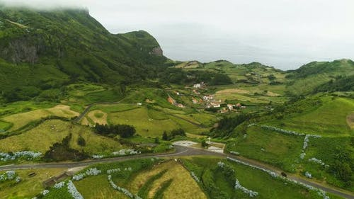 Aerial View Of Green Flores Island In Azores