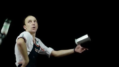 Bartender Juggling the Objects