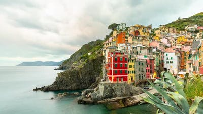 Time Lapse of the seaside village of Riomaggiore in Italy