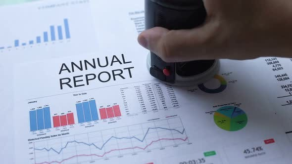 Thumbnail for Annual Report Approved, Hand Stamping Seal on Official Document, Statistics