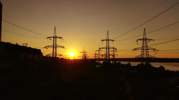 Electricity transmission lines. Distribution electric substation with power lines