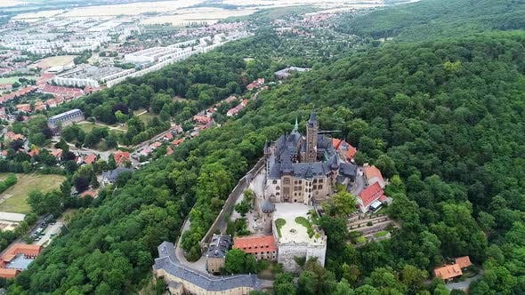 Thumbnail for Aerial view of famous Vernigerode Castle