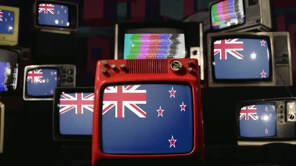 Thumbnail for New Zealand flags and retro Televisions.
