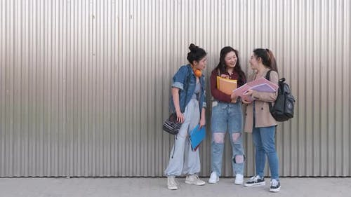 Portrait of a group of female college students talking together outdoors on the street.