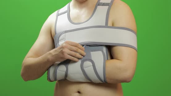 Thumbnail for Man Shoulder Injury. Bandage for Fixing of an Elbow Joint and a Humeral Belt