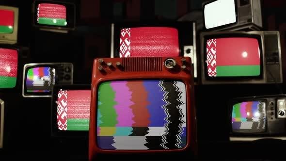 Flag of Belarus on a Retro TV Stack.