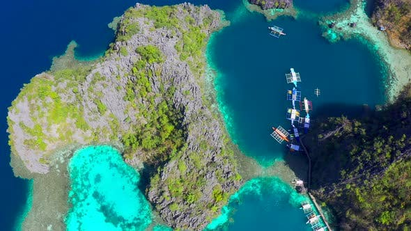 Thumbnail for Coron, Palawan, Philippines, Aerial View of Beautiful Lagoons and Limestone Cliffs