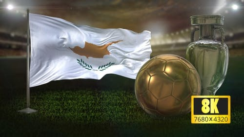 8K Cyprus Flag with Football And Cup Background Loop