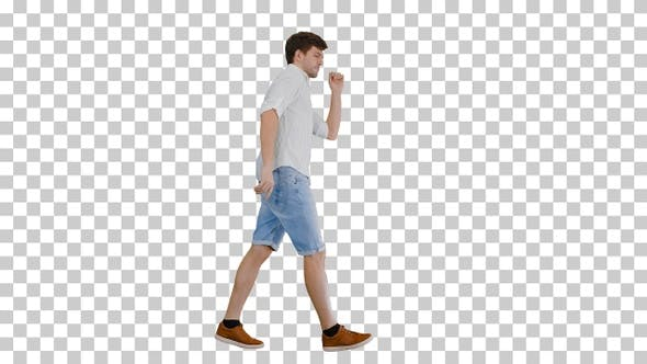 Thumbnail for Young man in casual clothes dancing happily, Alpha Channel