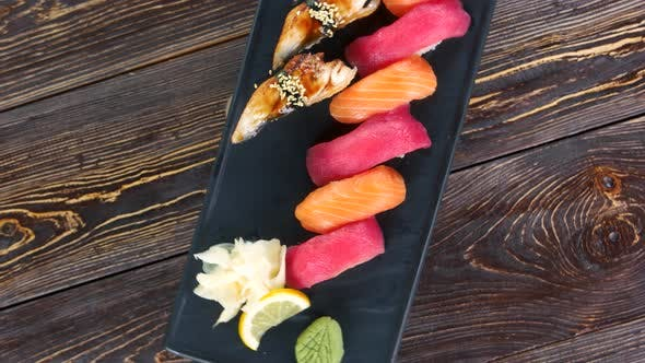 Nigiri Sushi on a Plate.