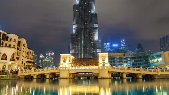 Thumbnail for Dubai Downtown Night Time Lapse. Pan Up