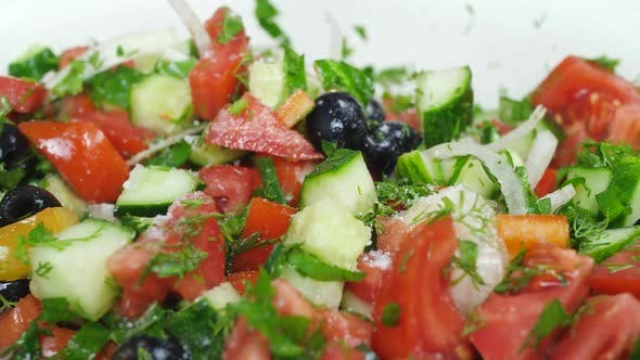 Thumbnail for Salt Mix Salad with Fresh Red Tomato, Green Cucumber, Onions and Olives