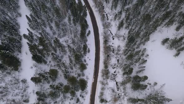 Aerial view following road winding through forest in winter