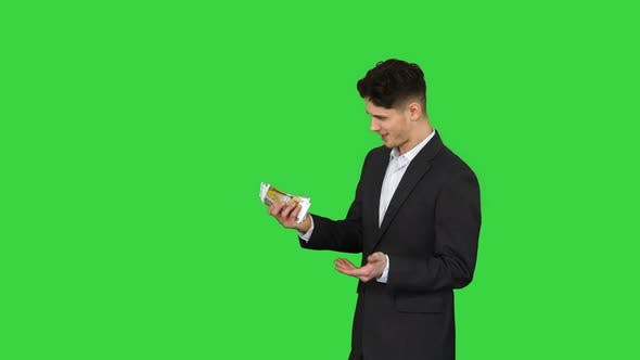 Thumbnail for Young Happy Businessman Dancing After Counting Salary Win Dance on a Green Screen, Chroma Key