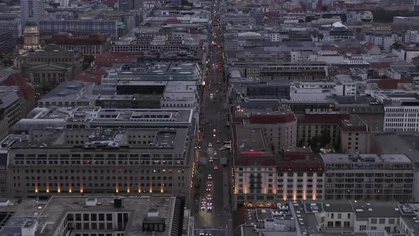 Thumbnail for AERIAL: Beautiful View Over Berlin Mitte Office Buildings and Car Traffic City Lights on Cloudy Day