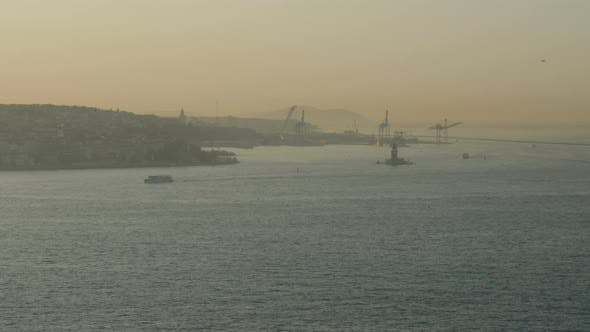 Thumbnail for Panoramic Aerial View of Seascape of Bosphorus With Shipping Traffic.