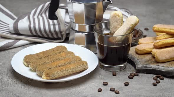 Cover Image for Tiramisu Cake Cooking - Italian Savoiardi Ladyfingers Biscuits and Coffee