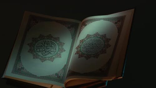 Holy Quran On Book Rest Partial Light